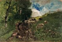 schafhirte mit seiner herde am wegesrand by richard von poschinger