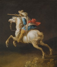 a cavalry officer charging by pauwels van hillegaert
