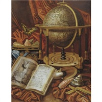 still life with a globe, books, shells and corals resting on a stone ledge by simon renard de saint-andre