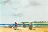 beach scene with figures by frederick mcduff