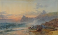 kynance cove, cornwall; stormy sunset by samuel phillips jackson