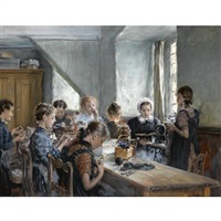 die nähstunde (the sewing class) by otto piltz