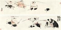 戏鸡图 舞剑图 镜片 纸本 by deng jiade