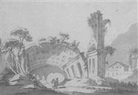 ruines antiques avec deux personnages contemplant une arche enterrée by jean-eric rehn