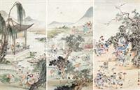 百子图 (in 3 parts) by xu yuechen