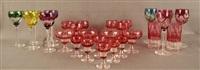 lot se composant de vingt-huit verres en cristal clair doublé multicouches, (set of 28) by val saint-lambert