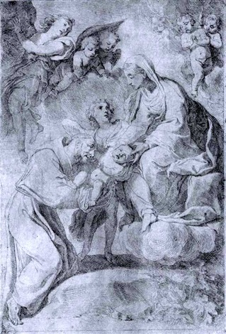 madonna and child in glory with st francis of assisi by flaminio dagli ancinelli torri