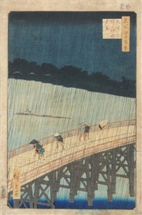 oban tate-e de la série meisho edo hyakkei, les cent vues d'edo, planche ohashi atake no yudachi, pluie soudaine sur le pont ohashi by ando hiroshige