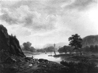 an extensive landscape with a herd on the bank of a river by maximilien lambert gelissen
