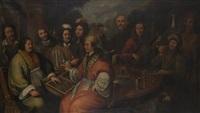 ritratto di gruppo con giocatori di backgammon, falconieri, musici e tavola imbandita by agostino santagostino