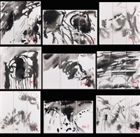 compositions (9 works in 3 parts; triptych) by t'ang haywen