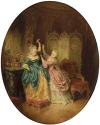 zwei damen der rokokozeit streiten um einen brief by edouard ender