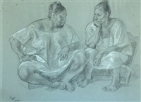 two women conversing by francisco zúñiga