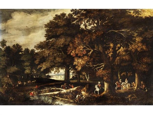 herbstliche waldlandschaft mit jagdreitern by gillis van coninxloo iii
