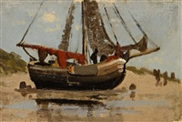 segelboot am strand by richard von poschinger
