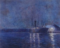 nocturnal ship scene by charles david jones bryant
