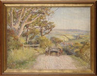 a horsecart on a country lane descending towards a north yorkshire village by robert jobling