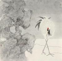 湖石仙鹤系列一 镜心 纸本 by gan yongchuan
