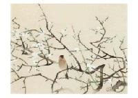plum flower and birds by ryushi kawabata