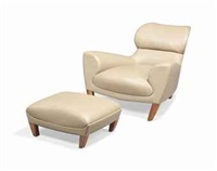 an 'astonette' armchair and footstool (set of 2) by david linley