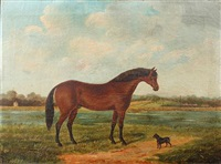 a bay hunter and a terrier in a landscape, with distant railway station by j. quinton
