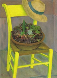 cactaceous plants on a yellow chair by ger (gerardus petrus) langeweg