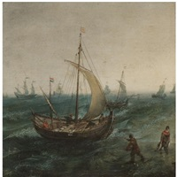fishermen and their boats in stormy seas by cornelis hendriksz vroom