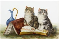 two kittens with books and jug by bessie bamber