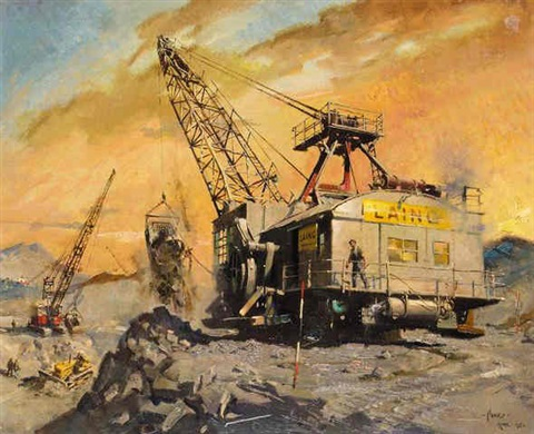 walking dragline excavator on an opencast coal site at whitley bay by terence cuneo