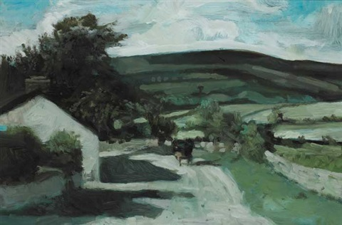 country lane with cart by jack cudworth