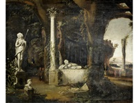 an architectural capriccio with classical ruins by charles cornelisz de hooch