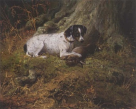 a terrier with a hare by john fitz marshall