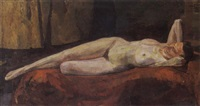 a reclining female nude by henri frédéric boot