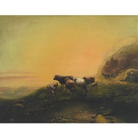 cattle grazing in the mountains by a. m. fleming