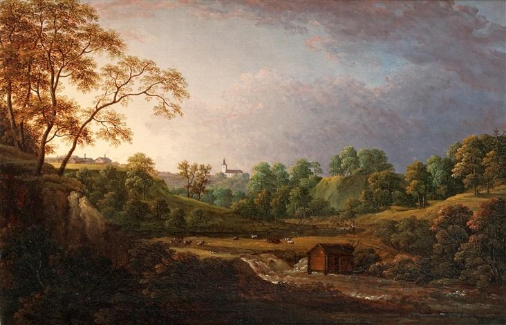 vidsträckt landskap med vattenfall boskap och kyrka i fonden by carl johan fahlcrantz
