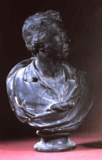 a george iii ebonised library bust of a gentleman by c. manning