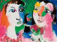 two female heads by bernard lorjou
