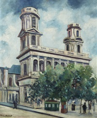 place de l'église saint sulpice à paris by elisée maclet