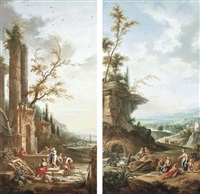a landscape with peasants washing laundry at a fountain (+ a landscape with peasants fishing and resting by a river; pair) by jean baptiste charles claudot
