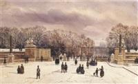 l'entrée du jardin des tuileries sous la neige by theodore jung