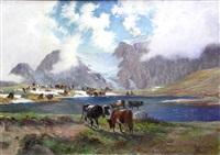 pascolo montano presso un lago by leonardo roda