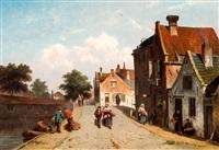zonnige dorpsstraat met wandelaars en groenteschuit aan de kade by adrianus eversen