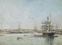 le havre. une corvette russe dans le bassin de l'eure by eugène boudin
