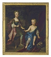 double portrait of lady henrietta and lady mary godolphin, daughters of francis, 2nd earl of godolphin, the former standing in classical dress with a... by charles d' agar