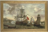king william iii landing at carrickfergus to lead the campaign against the deposed james ii, june 1690 by jacob knyff
