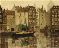 a view of a canal, amsterdam by jan den hengst