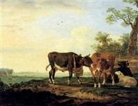 rinder und ein schaf auf der weide by anthony jacobus offermans