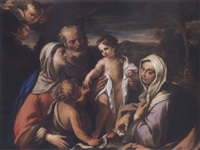 the holy family with saints anne and the infant john the baptist by giovanni raffaele badaracco