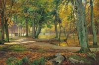 herbstliche parklandschaft by heinrich böhmer