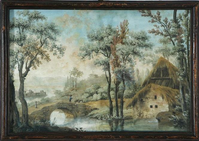 coppia di paesaggi campestri con rustici pair by francesco londonio